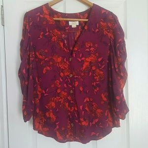Maeve Anthropologie floral 3/4 sleeve fall blouse